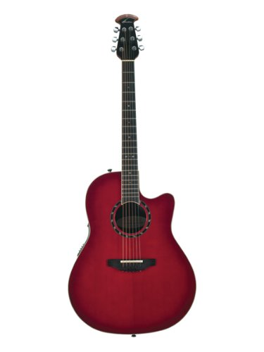 Ovation 2771AX-CCB Pro Balladeer Standard Deep Contour Acoustic-Electric Guitar Bundle with Gig Bag, Tuner, Strap, Strings, Picks, and Polishing Cloth - Cherry Cherry Burst