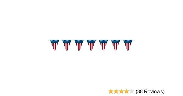 14ft Plastic Patriotic American Flag Pennant Banner Unique 61674