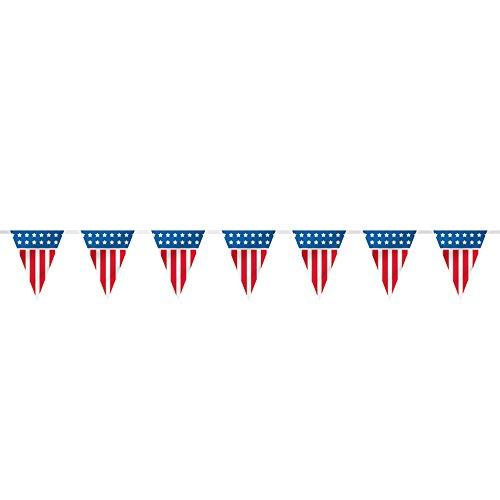 14ft Plastic Patriotic American Flag Pennant Banner (Plastic Flags)