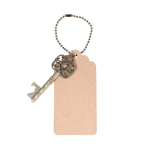 Pechalar - 30PCS Key Bottle Openers Vintage with Kraft Paper Label Card (Snowflake Pattern Ancient Cyan)