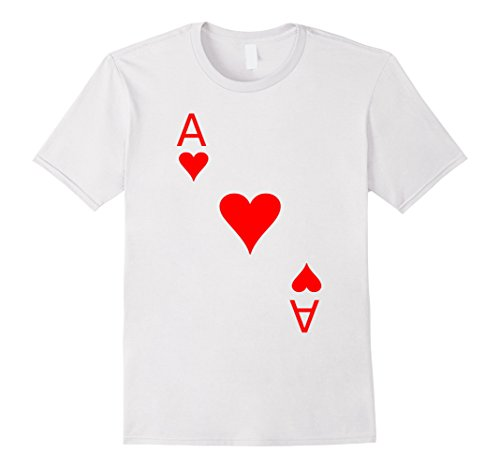 [Men's Ace of Hearts T-Shirt Halloween Costume Wonderland XL White] (Festival Costume For Men)