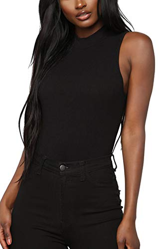 Mulisky Women Mock Neck Solid Basic Bodice Thong Leotard Bodysuits Black M