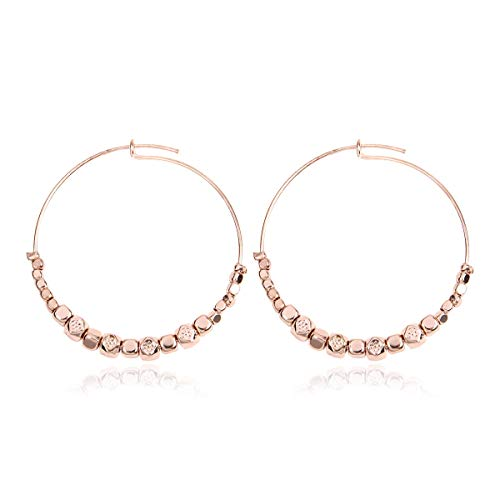 - RIAH FASHION Simple Lightweight Geometric Statement Hoop Earrings - Classic Thin Wire Delicate Curved Threader Dangles Round/Pear/Horseshoe/Wood Oval (Metallic Beaded - Rose Gold)