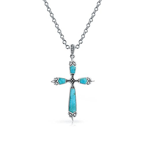 - Religious Stabilized Turquoise Fleur De Lis Cross Pendant Necklace For Women 925 Sterling Silver