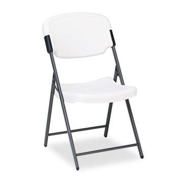 Rough N Ready Series Resin Folding Chair, Steel Frame, Platinum