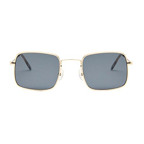 Sunglasses Mujer Marco Marco Aviador Dorado de Unisex Sol LINNUO Gafas Retro Eyewear Gris Hombres de Square Metal nXHgq