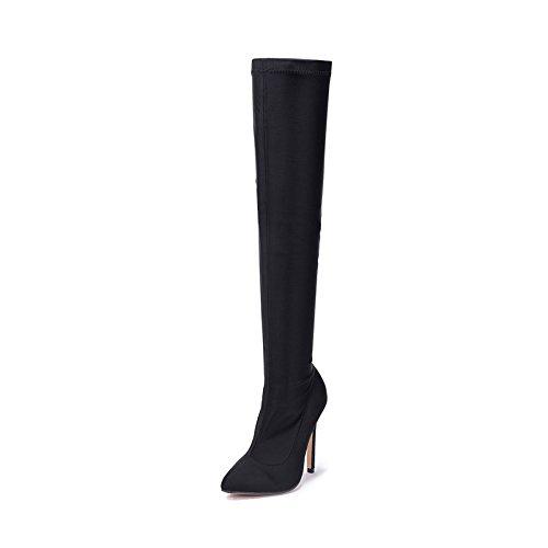 ZHZNVX Patín elástico sobre la rodilla calcetines botas botas de tacón alto de botas largas black