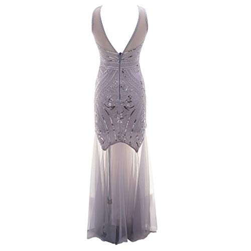 HYIRI ✈Big Deep V NeckSequin Party Flapper Dress,Women's Vintage Sexy Perspective Unique Bead Dress