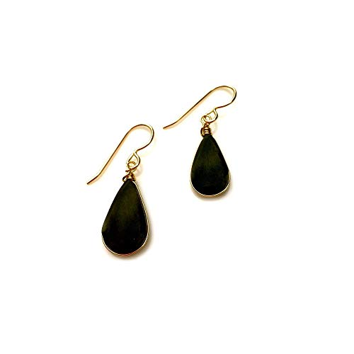 Black Stone Earrings in Gold Fill with Dangling Obsidian Teardrop Stones: Handmade Healing Gemstone Jewelry by Rumi Sumaq (Teardrop Gemstone Ring)