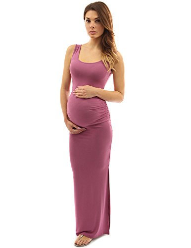 PattyBoutik Mama Tie-Dye/Solid Scoop Neck Sleeveless Maxi Dress (Moderate Raspberry Small)