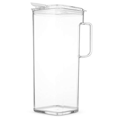 Komax Clear Large Tritan Pitcher with Lid | 77 Oz - 2.4 Quart (Full Capacity Jug) | Great Carafe for Water, Juice, Ice Tea, Lemonade, Sangria & Milk | Airtight, BPA Free, Square Shape Water Pitcher by Komax (Image #1)