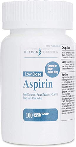 Beacon Baby Low Dose Aspirin, 81mg for Adults, Compared To Bayer Enteric Coated, Chewable Pain Relief 100 Count