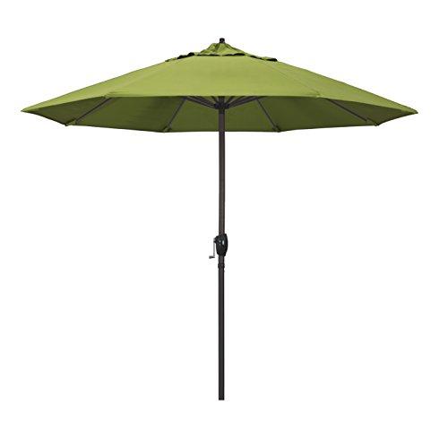 (California Umbrella 9' Round Aluminum Market Umbrella, Crank Lift, Auto Tilt, Bronze Pole, Sunbrella Macaw Fabric )