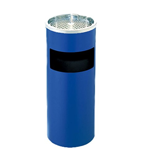(DUOER home Cylindrical Stainless Steel Trash Can Hotel Lobby With Ashtray Vertical Rubbish Bin Hotel Shopping Mall Floor Waste Bin 12L (Color : Blue))