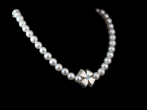 Blue Topaz Ribbon - BEAUTIFUL RIBBON CROSS PEARL NECKLACE   with Topaz on Silver Bow
