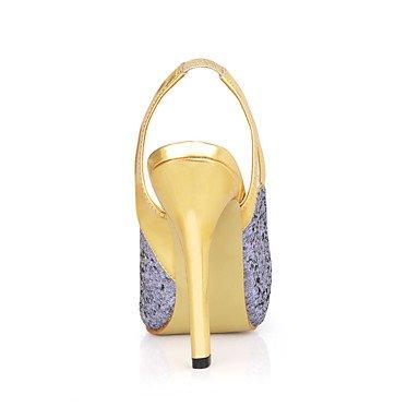 LvYuan Mujer-Tacón Stiletto-Talón Descubierto-Sandalias-Boda Vestido Fiesta y Noche-Sintético-Gris Claro Light Grey