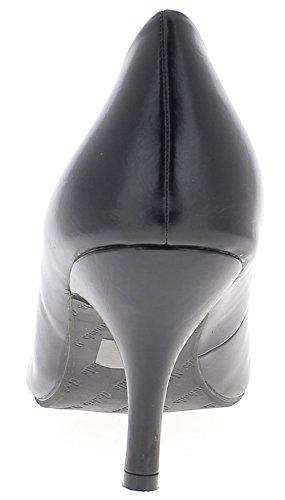 ChaussMoi Zapatos de Gran Tamaño Negro Tacones Finos de Aspecto de Cuero Brillante DE 8,5 cm