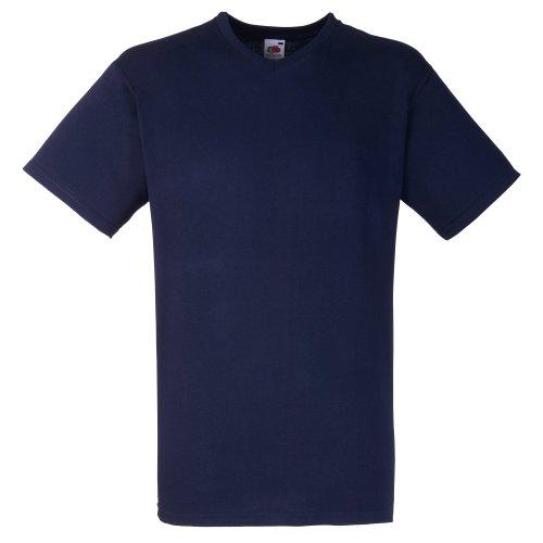 Fruit Of The Loom - Camiseta Básica de pico de manga corta de calidad superior para hombre Azul Marino Oscuro