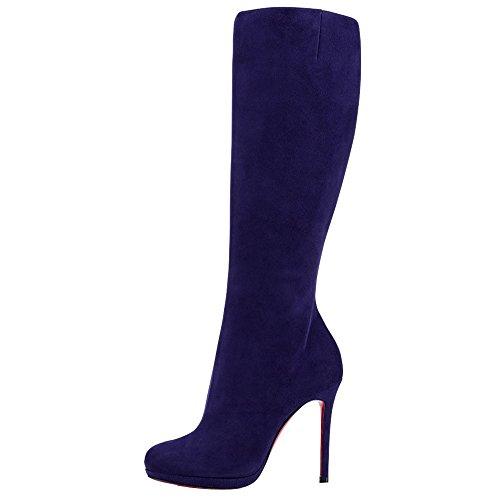 Onlymaker Damenschuhe High Heels Knie Hoch Reissverschluss Krause Stiefel (38 EU, Blue)