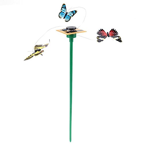 Gold Happy Vibration Solar Powered Dancing Fluttering Flying Butterfly Toy Art Home Garden Yard Decorations by Gold Happy