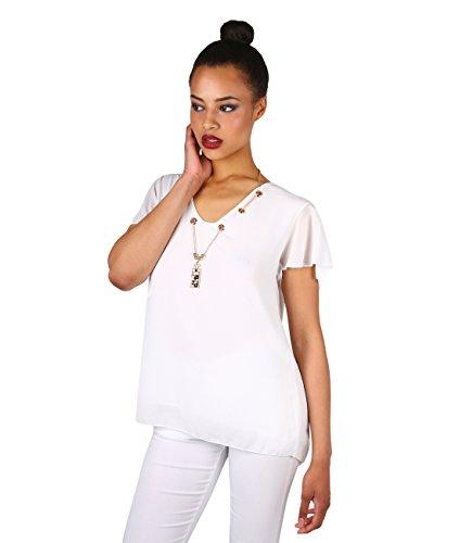 KRISP Top Mujer Verano Blusa Manga Corta Camisa Transparente Camiseta Blanco