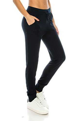 Me in California Women's Drawstring Comfy Jogger Pants with Side Pockets Navy Medium JP1313