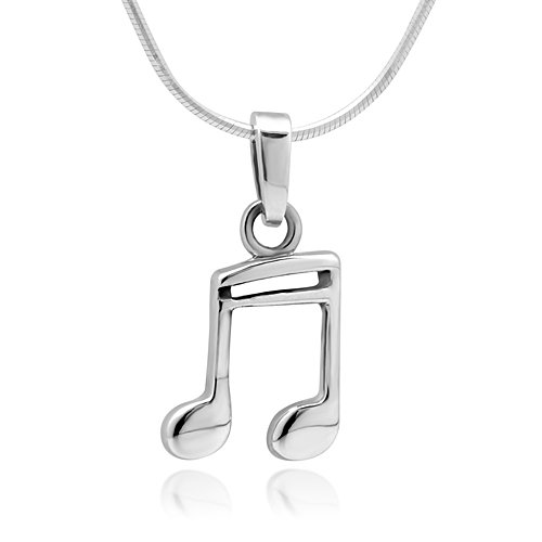 Chuvora 925 Sterling Silver 16th Note Music Lover or Musician Pendant Necklace, 18 inches
