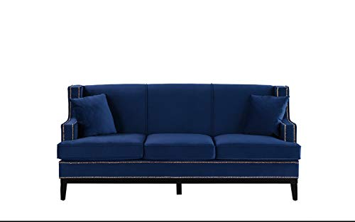 Casa Andrea Milano Classic Traditional Soft Velvet Sofa with Nailhead Trim Details Color Grey, Blue Blue