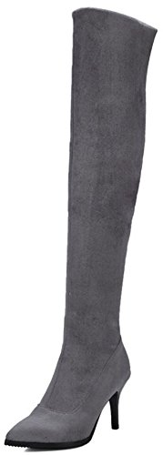 Easemax Women's Stylish Pointed Toe Mid Stiletto Heels Faux Suede Pull On Over Knee High Boots Grey