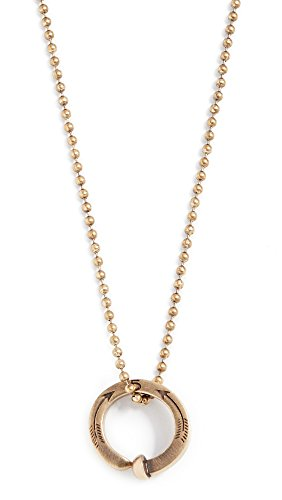 Giles & Brother Men's Railroad Spike Ring Ball Chain Necklace, Antique Brass, Gold, Bronze, One Size