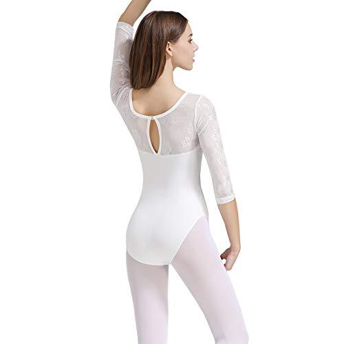 Limiles Adult Ballet 3/4 Sleeve Lace Back Leotard (White, - Adult Leotard Sleeve 3/4