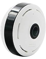 كاميرا سحابية 360 درجة - HD 1080P - كاميرا بانورامية للواي فاي الأرضية - كاميرا IP P2P عين السمك - رؤية ليلية بالأشعة تحت الحمراء للمراقبة على المنزل CCTV كام - أبيض