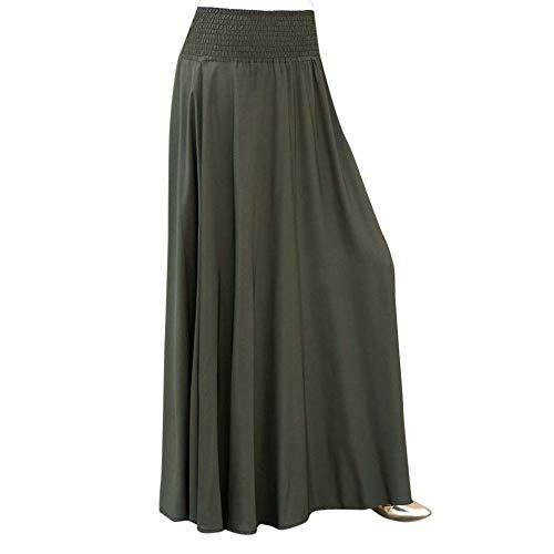 Loose Long Skirts Women Fashion Elastic Waist Solid Pleated Skirt Vintage A-line Dress Beautyfine Army Green