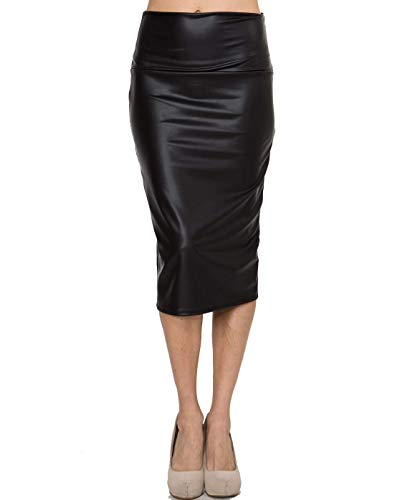 Bold And Beautiful Women's Knee Length Pencil Skirt - High Waisted Midi - Office Wear - Plus and Regular Size - Made in USA (Large, Black Faux Leather)