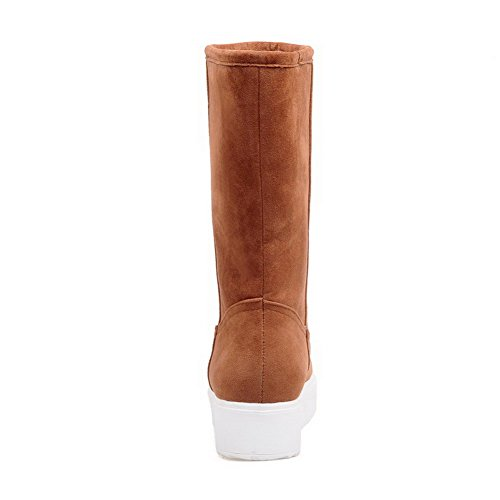 Low Allhqfashion Closed Toe Solid Imitated Suede On Round Heels Pull Boots Brown Women's awrqIFna