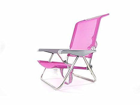 Eredu - Silla playa baja aluminio rosa
