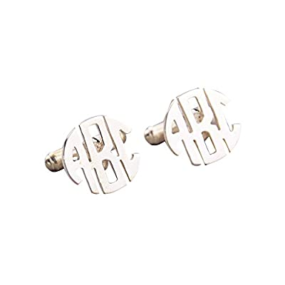Ouslier 925 Sterling Silver Personalized Men Wedding Cuff Links Custom Made with Any Names or Initials