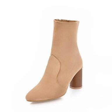 RTRY Zapatos de mujer invierno polar novedad moda botas botas Chunky talón señaló Mid-Calf Toe botas para Boda Casual Gris negro almendra US8 / EU39 / UK6 / CN39