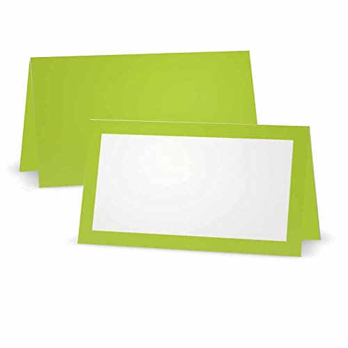 Lime Green Place Cards - Tent or Flat - 10 or 50 Pack - White Blank Front with Solid Color Border - Placement Table Name Seating Stationery Party Supplies - Occasion or Dinner Event - (10, Tent Style) (Green Place Card)