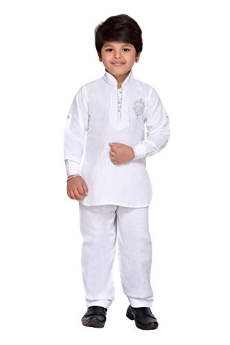 AJ Dezines Kids Indian wear Bollywood Style Pathani Suit for Boys (709-WHITE-10) by AJ Dezines