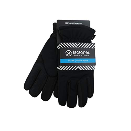- ISOTONER MENS SIGNATURE STRETCH HYBRID WATERPROOF ULTRAPLUSH LINED GLOVES (M/L, Black)