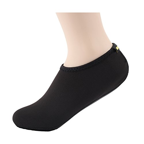 Wowfoot Water Shoes For Women Men's Kids Aquatic Socks Flexible Fitness Pool (1. S(W:5-6, US Kids:3-4), Black)
