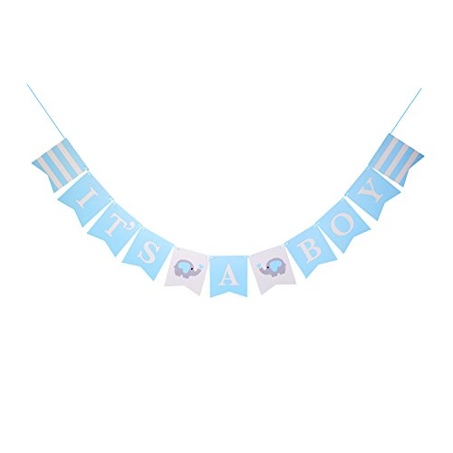 IT'S A BOY Paper Garland Bunting Banner Christening Baby Blue Decorations For Baby Shower Baby Elepant Birthday Party Favors Photo Prop -