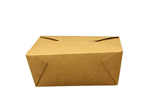 Take Out Containers Easy Fold & Close (Pack of 40) Box #4 Kraft Paper with Poly-coated Inside To-go Containers [110oz - 7.8