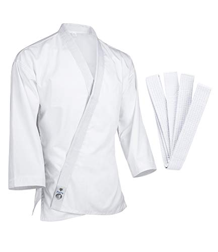 FitsT4 Karate Gi Jacket Lightweight 7.5oz White Karate Martial Arts Top Only for Adult & Children Size 5