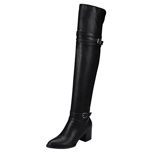 Women Strap Black COOLCEPT Boots Monk FwCqT1xT