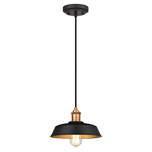 6309000 One-Light Indoor Pendant, Matte Black and Washed Copper Finish with Metallic Bronze Interior (Bronze Finish Washed)