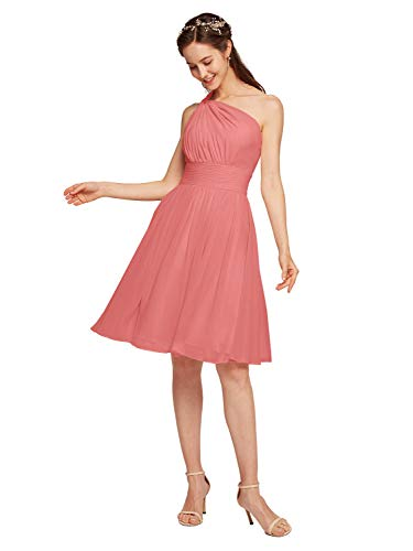 Alicepub Chiffon Bridesmaid Dress Short Cocktail Party Homecoming Dresses, Coral Pink, US6