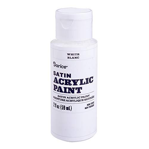 (Darice 30062593 Satin White, 2 Ounces Acrylic Paint,)