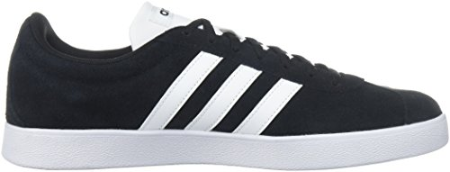 Adidas Men's VL Court 2.0, Grey Three/Grey Two/Gum, 10.5 M US Black/White/White